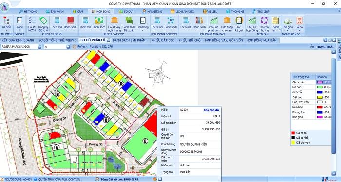 quản lý sản phẩm bất động sản theo dạng sơ đồ phân lô